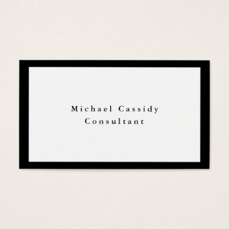 Simple Plain Elegant Black White Minimalist Modern Business Card