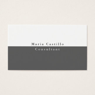 Simple Plain Elegant Grey White Minimalist Modern Business Card