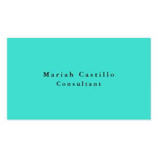 Simple Plain Elegant Turquoise Blue Minimalist Business Card