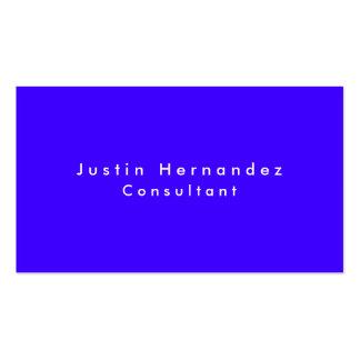 Simple Plain Elegant Ultramarine Blue Minimalist Business Card