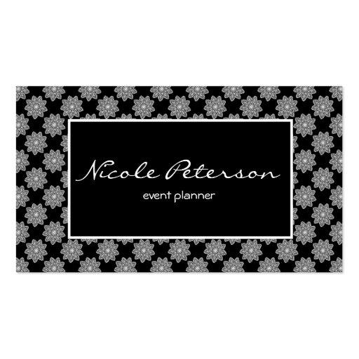 Simple plain elegant white lace black background business for Business card background black