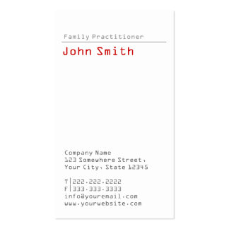 Simple Plain Family Practitioner Business Card