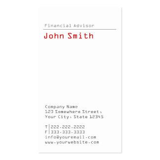 Simple Plain Financial Advisor Business Card