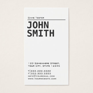 Simple Plain Game Testing Business Card