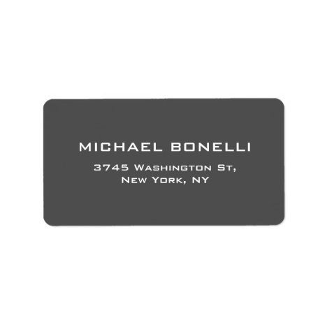 Simple Plain Gray Elegant Return Address Label