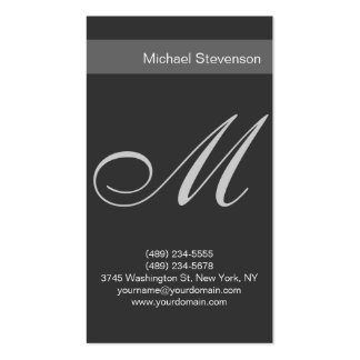 Simple Plain Grey Script Monogram Business Card