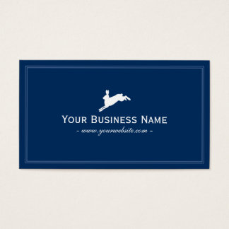 Simple Plain Jumping Hare Business Card (Blue)