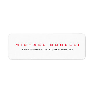 Simple Plain Legible Red White Address Label