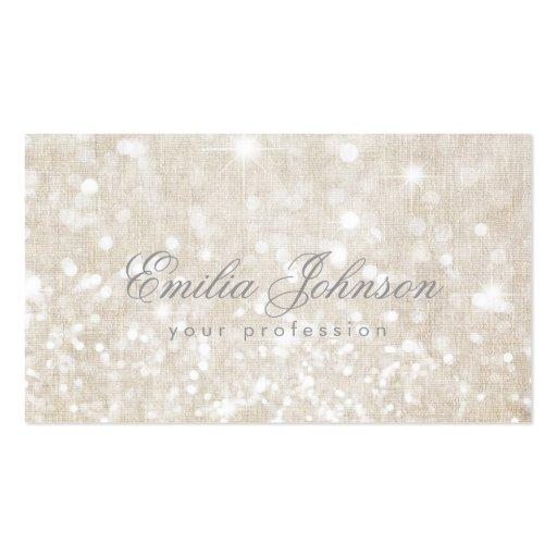 Simple Plain Linen Shimmering Business Card