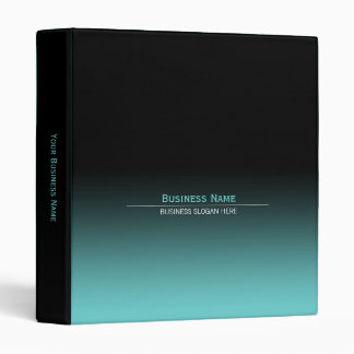 Simple Plain Modern Black & Aqua Gradient 3 Ring Binder