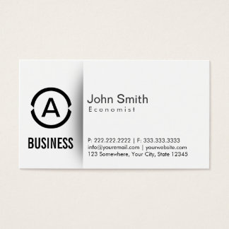 Simple Plain Monogram Economist Business Card