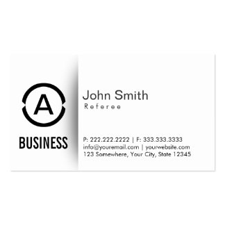 Simple Plain Monogram Referee Business Card