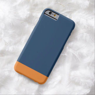 Simple Plain Navy Blue Orange Solid Color Barely There iPhone 6 Case