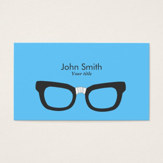 Simple Plain Nerdy Glasses Blue Business Card