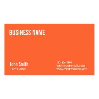 Simple Plain Orange Film Editor Business Card