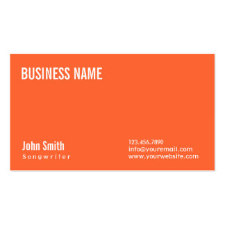 Simple Plain Orange Songwriter Business Card