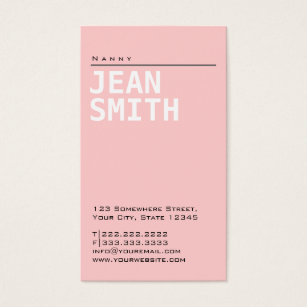 Nanny business cards templates zazzle simple plain pink nanny business card reheart Gallery