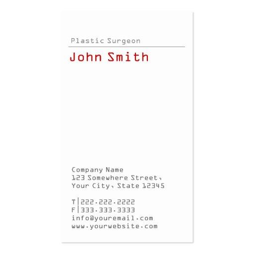 Simple Plain Plastic Surgeon Business Card