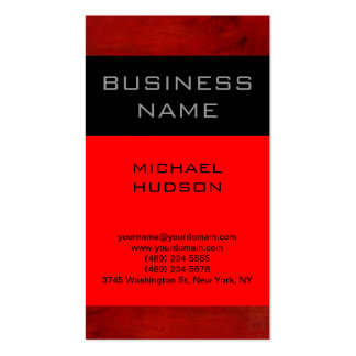 Simple Plain Red Black Consultant Business Card
