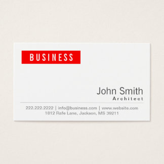 Simple Plain Red Label Architect Business Card