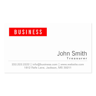 Simple Plain Red Label Treasurer Business Card
