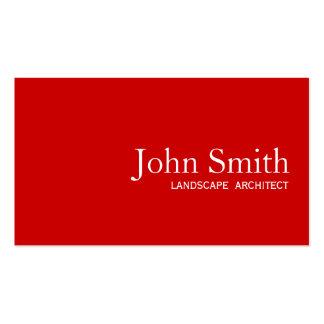 Simple Plain Red Landscape Architect Business Card