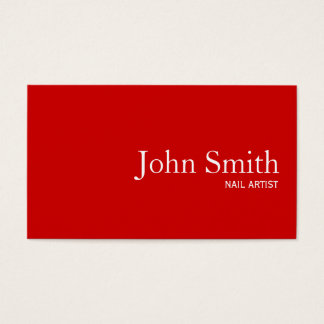 Simple Plain Red Nail Art Business Card