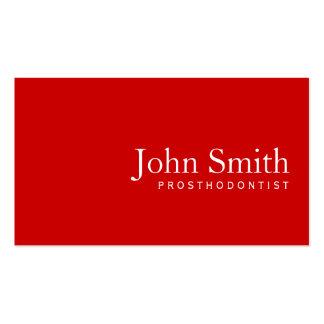 Simple Plain Red Prosthodontics Business Card