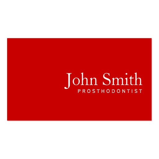 Simple Plain Red Prosthodontics Business Card