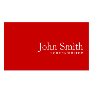 Simple Plain Red Screenwriter Business Card