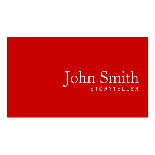 Simple Plain Red Storyteller Business Card