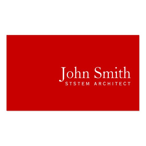 Simple Plain Red System Architect Business Card