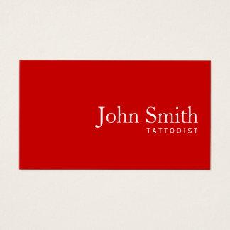 Simple Plain Red Tattoo Art Business Card