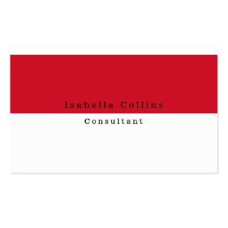 Simple Plain Red White Minimalist Creative Modern Business Card