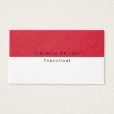 Simple Plain Red White Minimalist Creative Modern Business Card at Zazzle