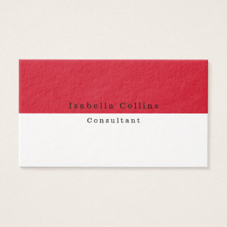 Simple Plain Red White Minimalist Creative Modern Business Card