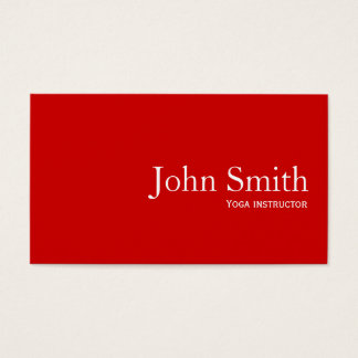 Simple Plain Red Yoga instructor Business Card