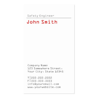 Simple Plain Safety Engineer Business Card