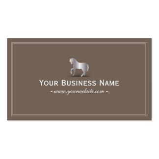 Simple Plain Silver Horse Business Card Brown