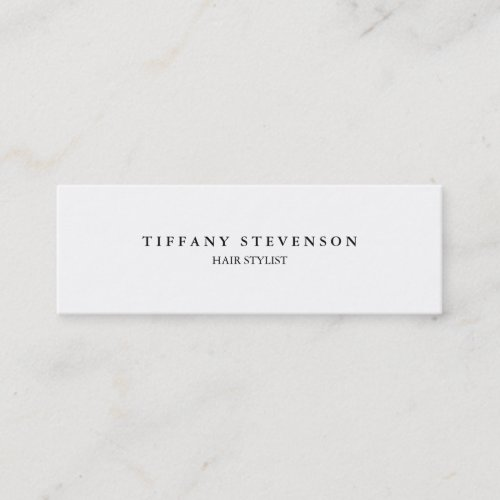 Simple Plain Slim Professional White Hair Stylist Mini Business Card