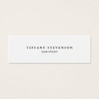 Simple Plain Slim Professional White Hair Stylist Mini Business Card