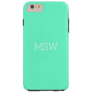 Simple Plain Solid Aqua Optional Monogram White Tough iPhone 6 Plus Case