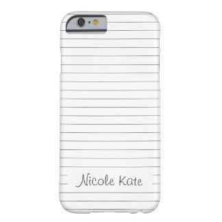 simple plain stripes black & white custom monogram barely there iPhone 6 case