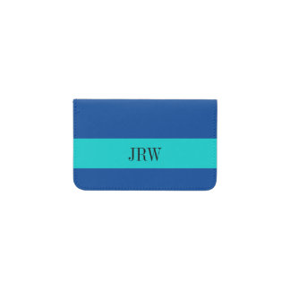 Simple Plain Teal Blue Monogram Custom Color Business Card Holder