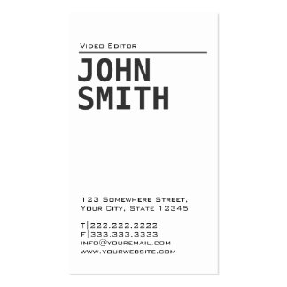 Simple Plain Video Editor Business Card