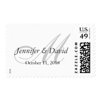 Simple Plain White Gray Monogram Wedding Postage
