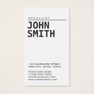 Simple Plain White Mechanic Business Card