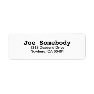 Simple Plain White Return Address Label
