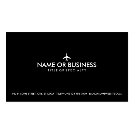Simple Plane Silhouette Black Business Card Template