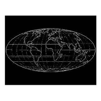 simple planisphere / maps postcard